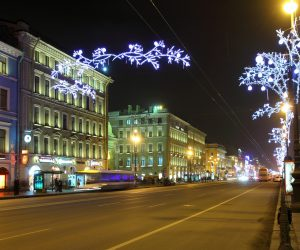 Nevsky Prospect at Christmas night -  St. Petersburg Russia