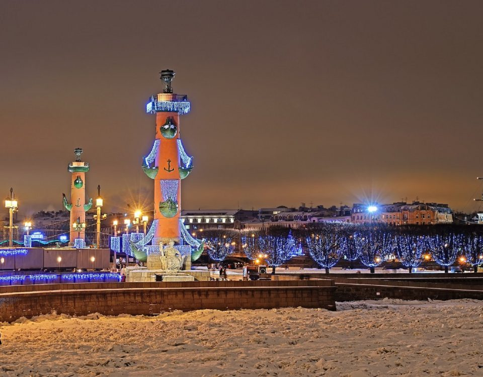 The rostral columns in the christmas illumination, St-Petersburg, Russia
