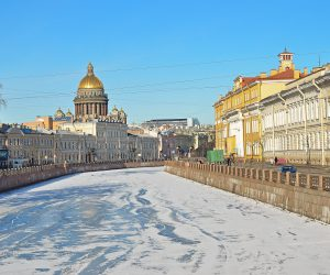 The historical part of St. Petersburg, Russia, in the winter - a view from the embankment